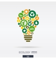 flat icons in a bulb shape ecology earth green vector image vector image