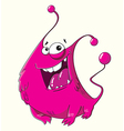 Funny cartoon fluffy pink monster with a smile vector image