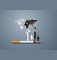 concept no smoking day world with familypaper art vector image