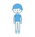 cute blue boy cartoon vector image