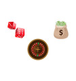 gambling symbols - roulette dices and money bag vector image