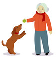granny play with dog vector image