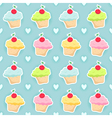 Seamless pattern with cupcakes and hearts vector image