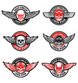 Set of biker club emblems templates skull with vector image