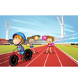 Kids and race track vector image