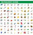 100 railway icons set cartoon style vector image