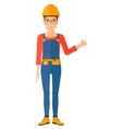 Builder showing thumbs up vector image
