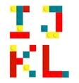 Alphabet set made of toy construction brick blocks vector image