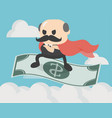 businessman standing on money flying vector image