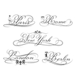 City emblems with calligraphic elements Cities vector image