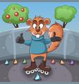 funny squirrel rides a roller vector image