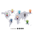 Modern Design world mapping pins icon vector image