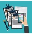 businessman smartphone pen cv document icon vector image