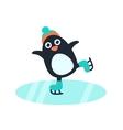 Little cute penguin in skates vector image