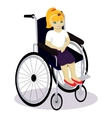 little girl with disabilities in a wheelchair vector image vector image