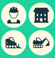 construction icons set collection of home digger vector image