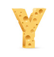 cheese font y letter on white vector image vector image