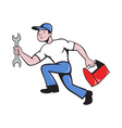 mechanic repairman with spanner running vector image