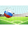 A soccer ball with the flag of Russia hitting a vector image
