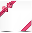 White paper card with gift pink satin bow vector image