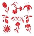 Set of red flower design elements vector image