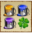 Interior paint three flowers and green leaf vector image