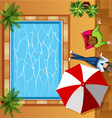 Top view of people sitting by the pool vector image