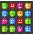 Flat emotion icons with smiley faces vector image
