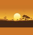 Kangaroo scenery silhouette vector image