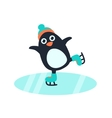 Little cute penguin in skates vector image
