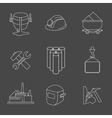 set of heavy industry line icons vector image
