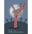 Halloween Concept with Zombie Hand on Grave vector image