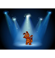 A stage with a dog in the middle vector image vector image