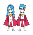 color silhouette with couple of superheroes united vector image