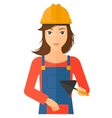 Bricklayer with spatula and brick vector image