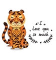 Cute tigers with text I love you so vector image