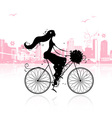 Girl with floral bouquet cycling in the city vector image