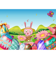 A bunny with a guitar and the easter eggs in the vector image