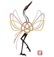 Card with traditional mizuhiki node as crane bird vector image