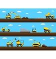 Construction process Bulldozer truck and vector image