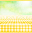 empty picnic gingham tablecloth green background vector image