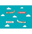 flying advertising banners pulled by light plane vector image