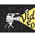 Professional video camera with yellow light and vector image