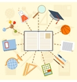 School supplies and tools around the book on a vector image