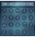 thin line happy birthday icons set concept on a vector image