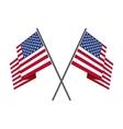 Two crossed american flag vector image