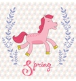 Spring concept card with cute running horse vector image