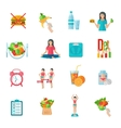 Weight loose diet flat icons set vector image