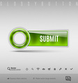 Green plastic button on the gray background design vector image vector image