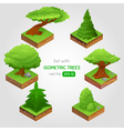 Set with isometric tree in cartoon style vector image